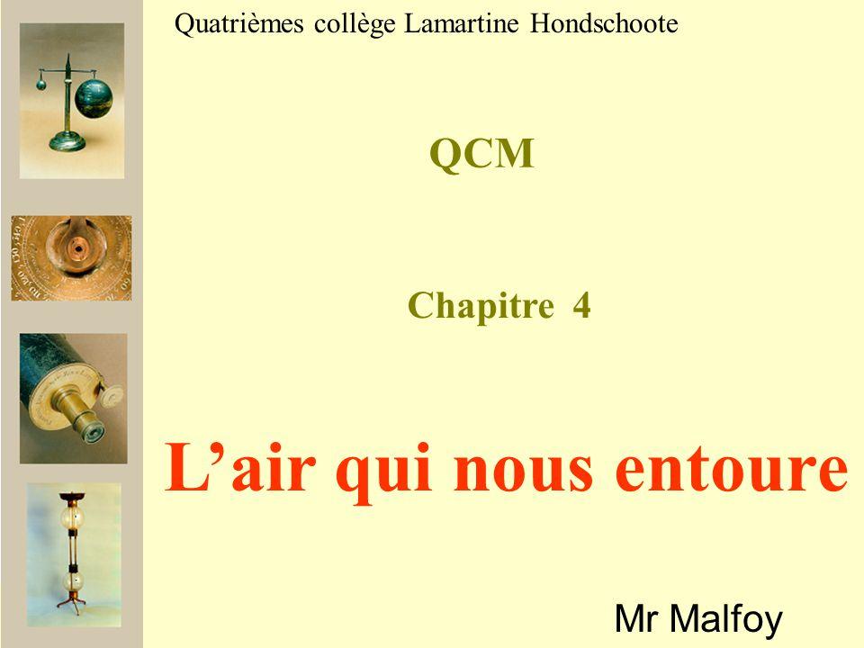 L'air qui nous entoure QCM Chapitre 4 Mr Malfoy