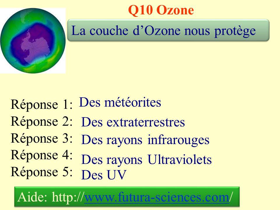 Q10 Ozone La couche d'Ozone nous protège. Des météorites. Réponse 1: Réponse 2: Réponse 3: Réponse 4: