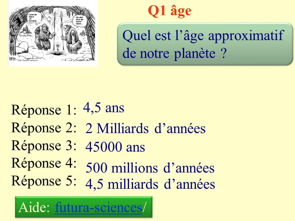 Q1 âge Quel est l'âge approximatif de notre planète 4,5 ans. Réponse 1: Réponse 2: Réponse 3: