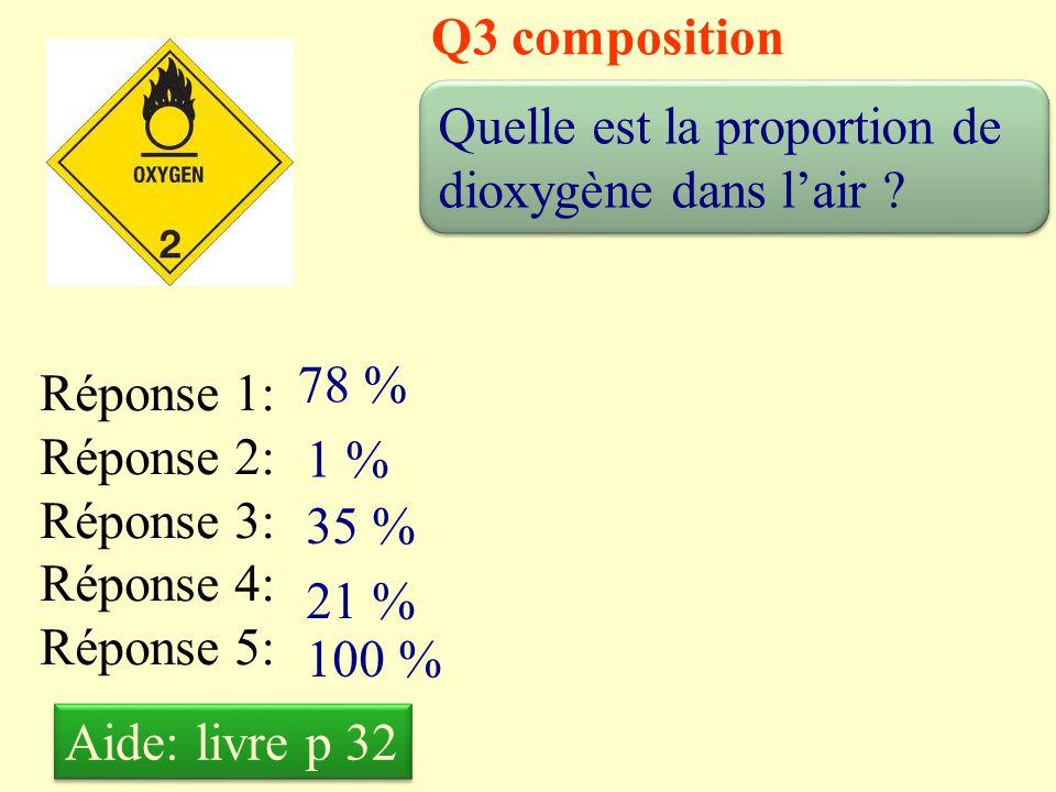 Q3 composition Quelle est la proportion de dioxygène dans l'air 78 % Réponse 1: Réponse 2: Réponse 3: