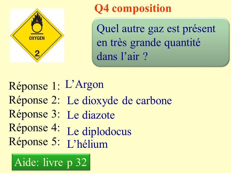 Q4 composition Quel autre gaz est présent en très grande quantité dans l'air L'Argon. Réponse 1: