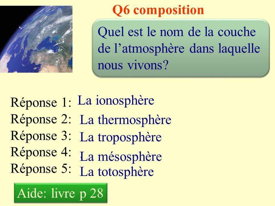 Q6 composition Quel est le nom de la couche de l'atmosphère dans laquelle nous vivons La ionosphère.