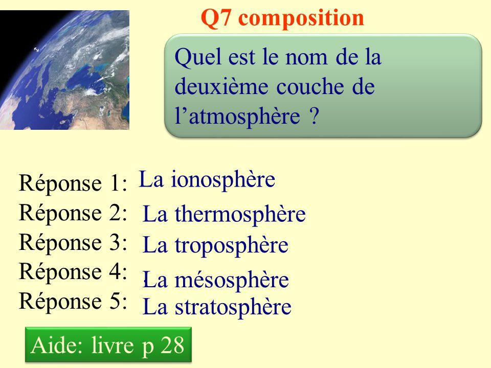 Q7 composition Quel est le nom de la deuxième couche de l'atmosphère La ionosphère. Réponse 1: Réponse 2: