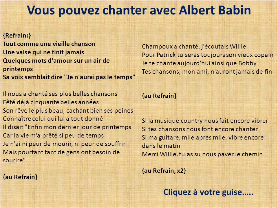 Vous pouvez chanter avec Albert Babin