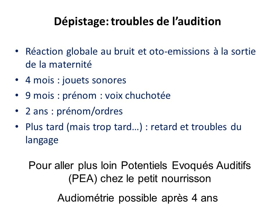 Dépistage: troubles de l'audition