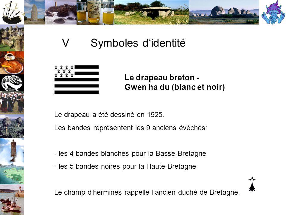 V Symboles d'identité Le drapeau breton - Gwen ha du (blanc et noir)