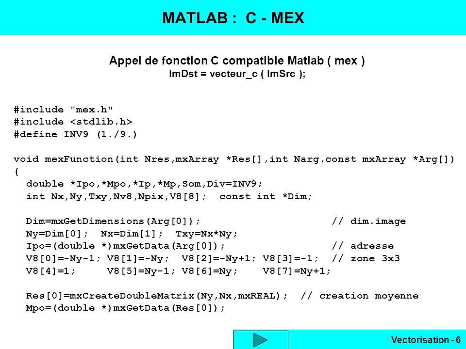 MATLAB : C - MEX Appel de fonction C compatible Matlab ( mex )
