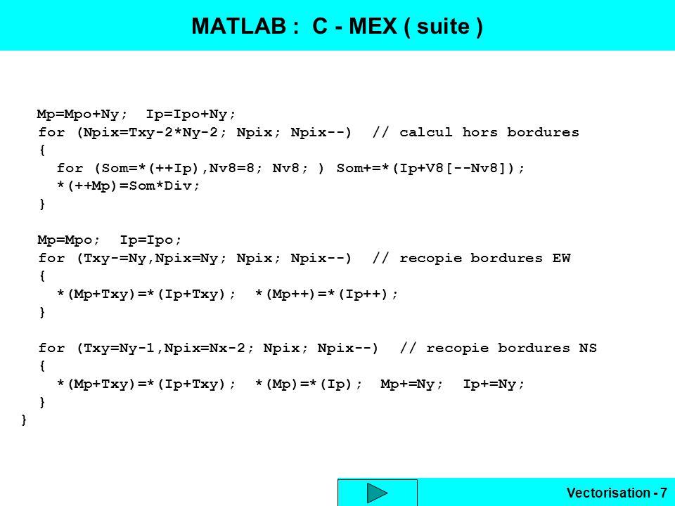 MATLAB : C - MEX ( suite ) Mp=Mpo+Ny; Ip=Ipo+Ny; for (Npix=Txy-2*Ny-2; Npix; Npix--) // calcul hors bordures.