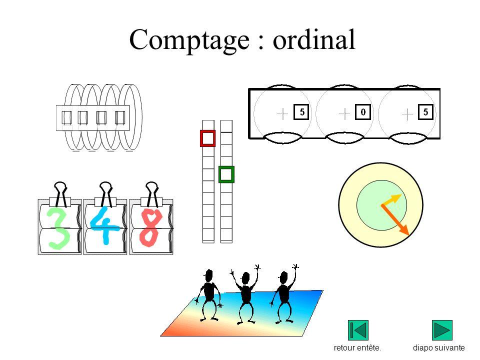 Comptage : ordinal retour entête. diapo suivante