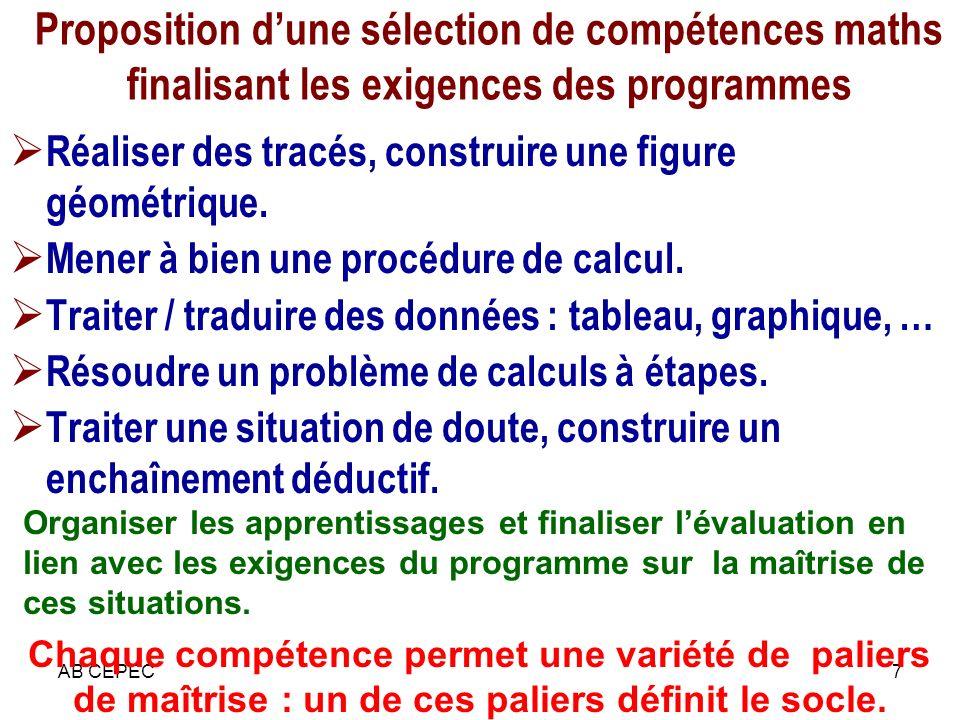 Proposition d'une sélection de compétences maths finalisant les exigences des programmes