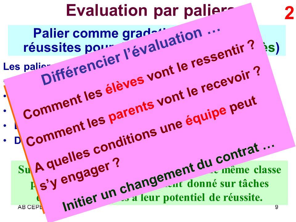 Evaluation par paliers
