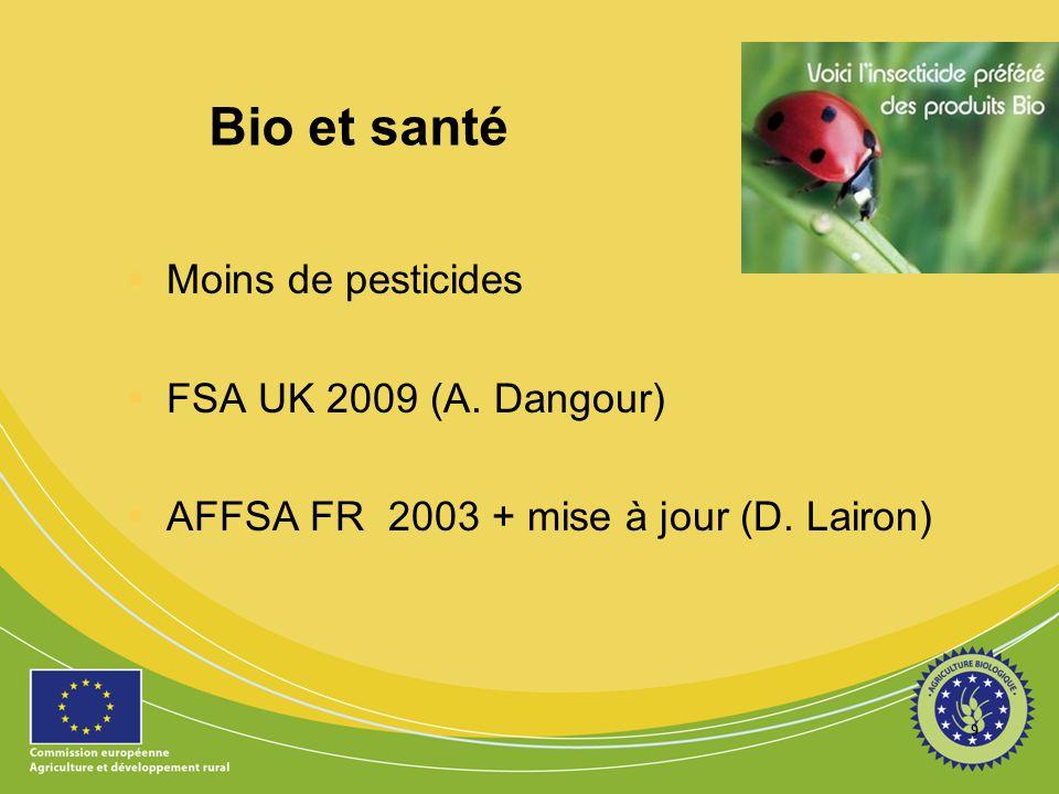 Bio et santé Moins de pesticides FSA UK 2009 (A. Dangour)