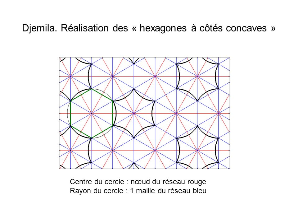 Djemila. Réalisation des « hexagones à côtés concaves »