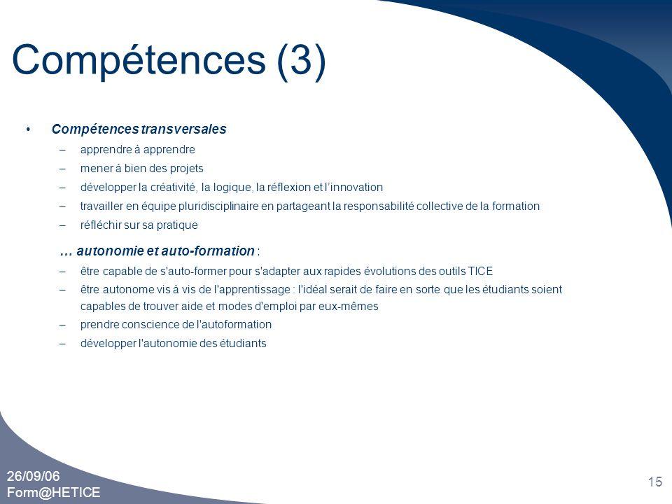 Compétences (3) Compétences transversales
