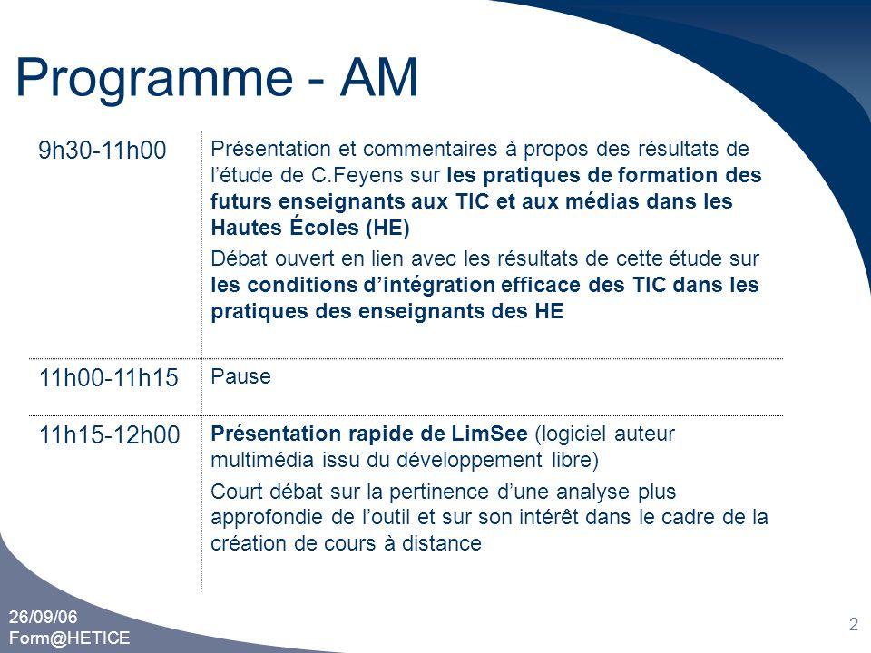 Programme - AM 9h30-11h00 11h00-11h15 11h15-12h00