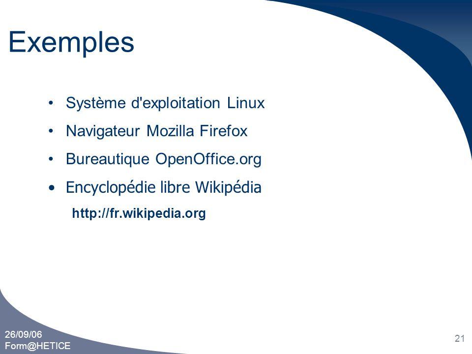 Exemples Système d exploitation Linux Navigateur Mozilla Firefox
