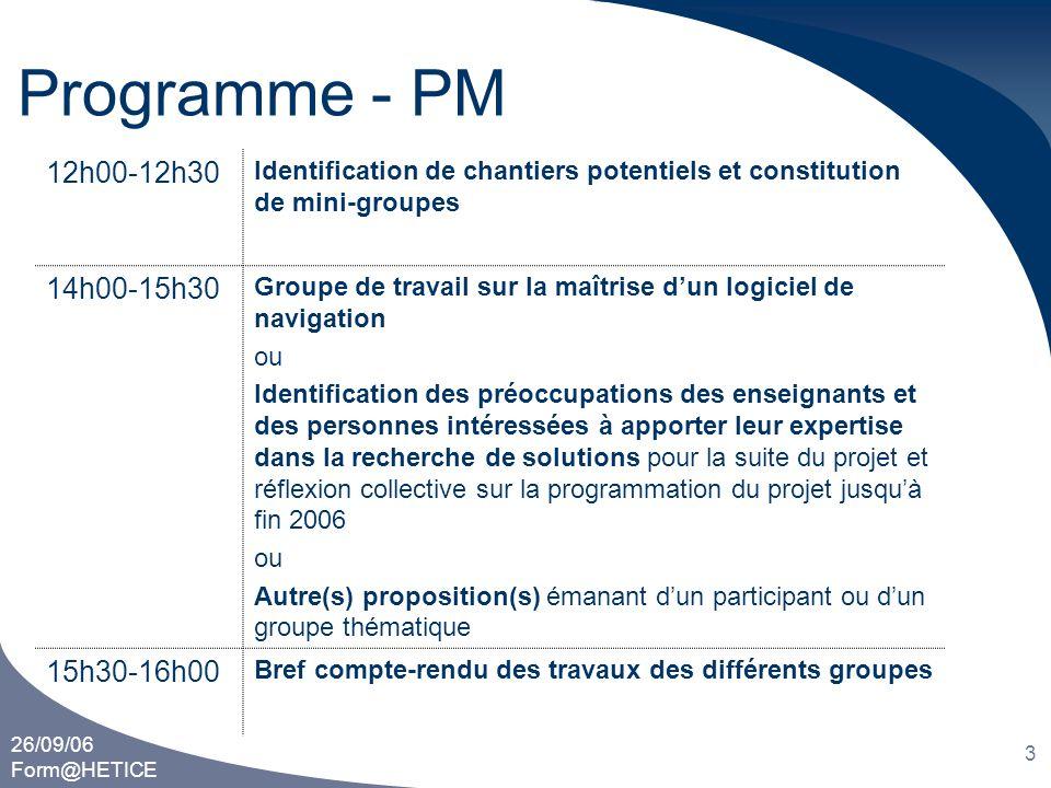 Programme - PM 12h00-12h30 14h00-15h30 15h30-16h00