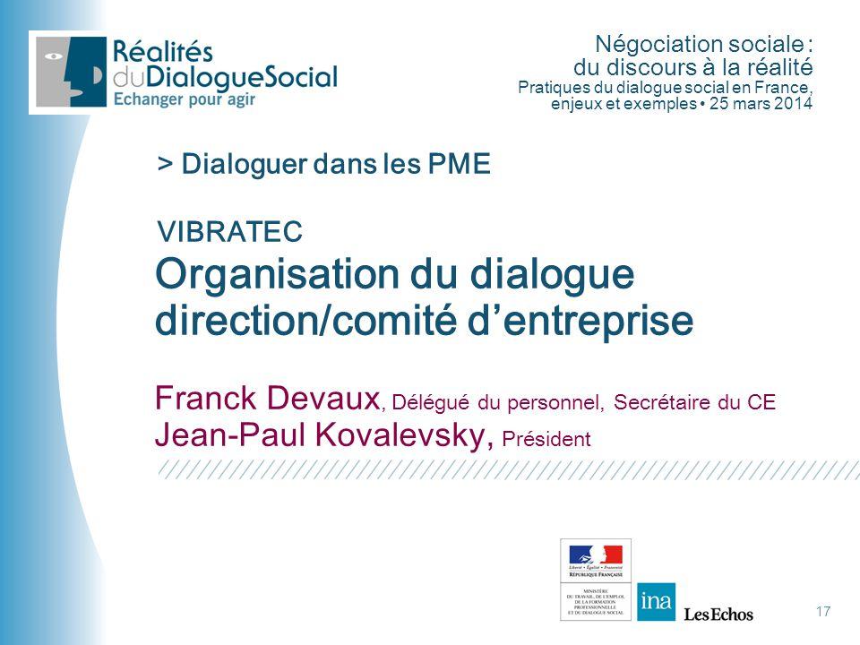 Organisation du dialogue direction/comité d'entreprise