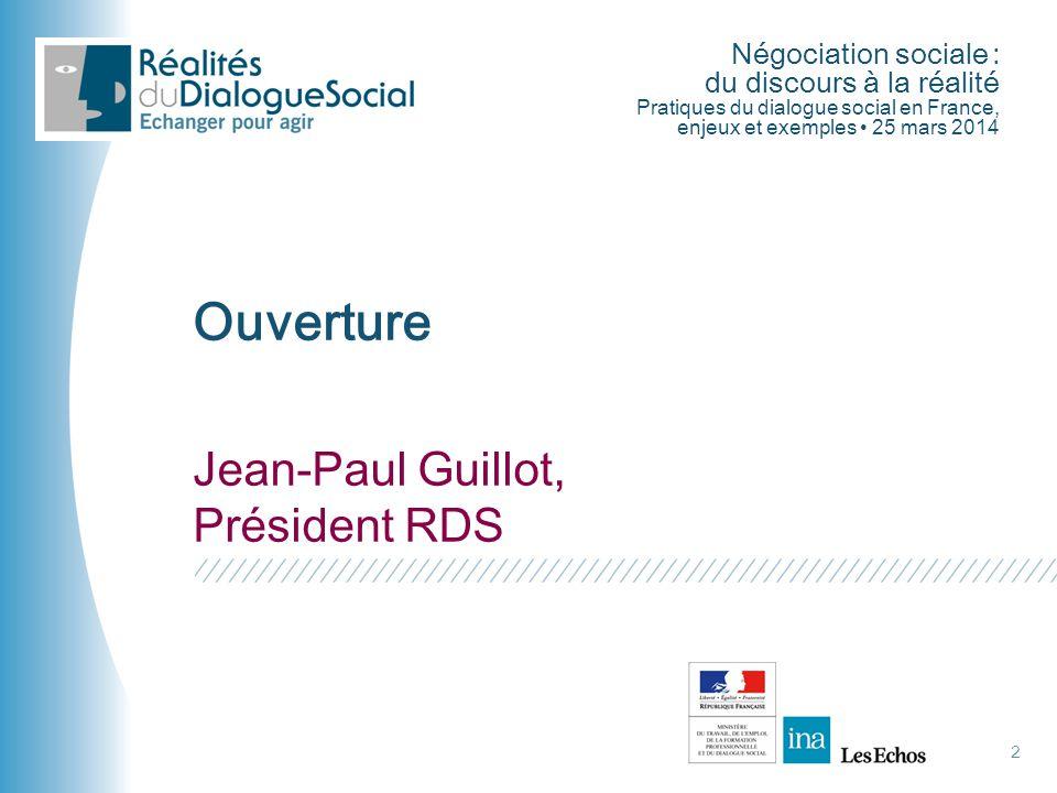 Ouverture Jean-Paul Guillot, Président RDS