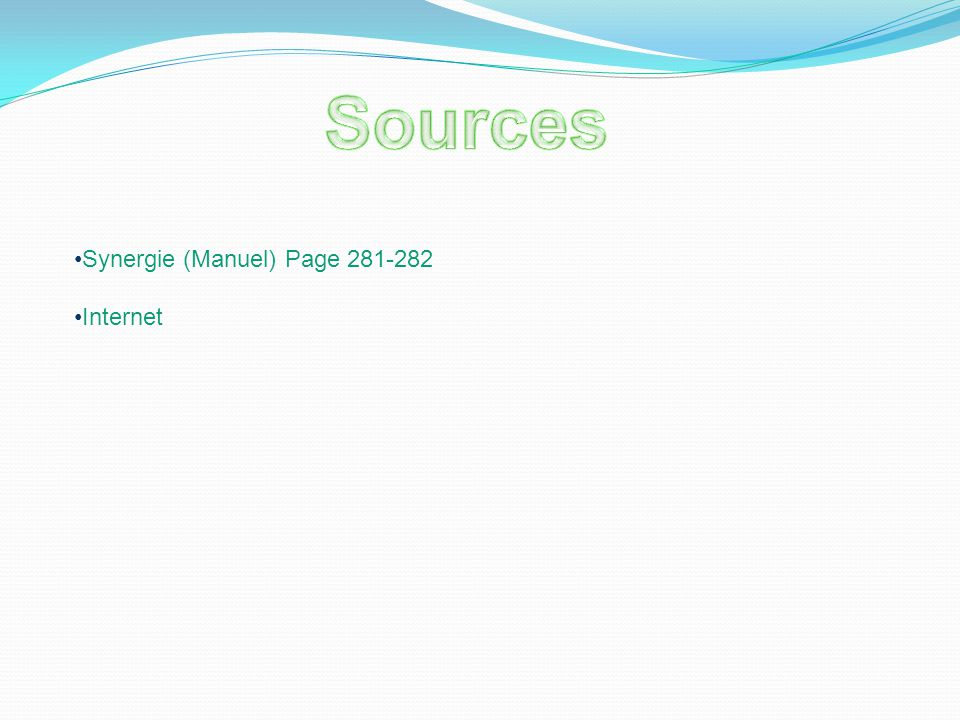 Sources Synergie (Manuel) Page 281-282 Internet