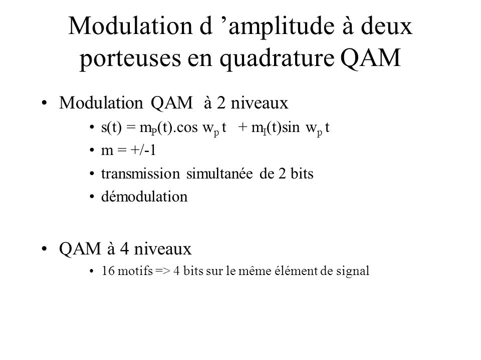 Modulation d 'amplitude à deux porteuses en quadrature QAM