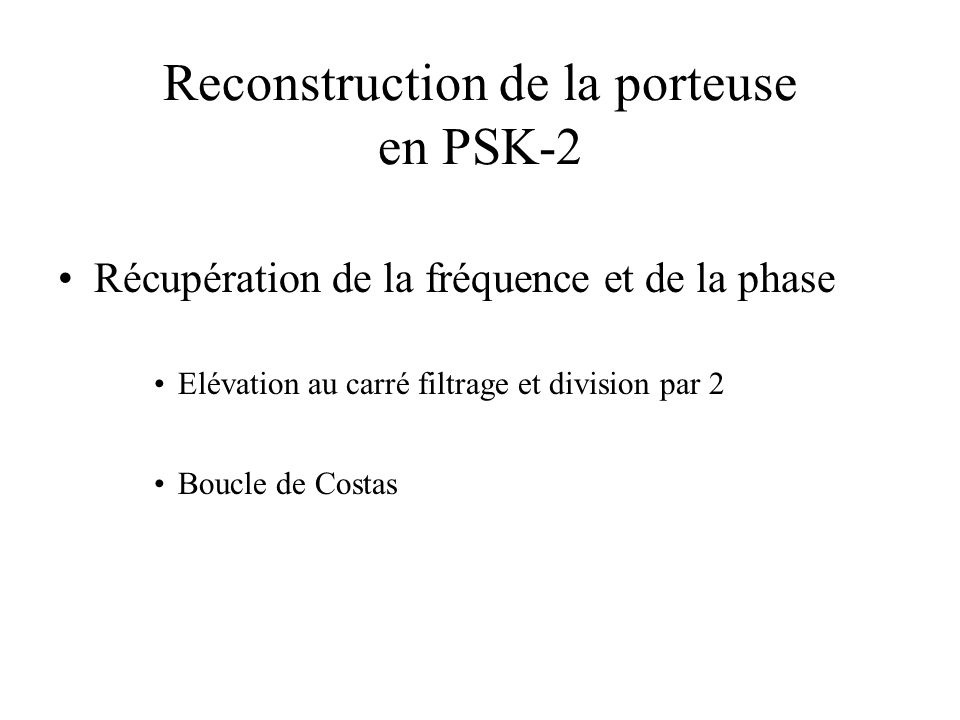Reconstruction de la porteuse en PSK-2