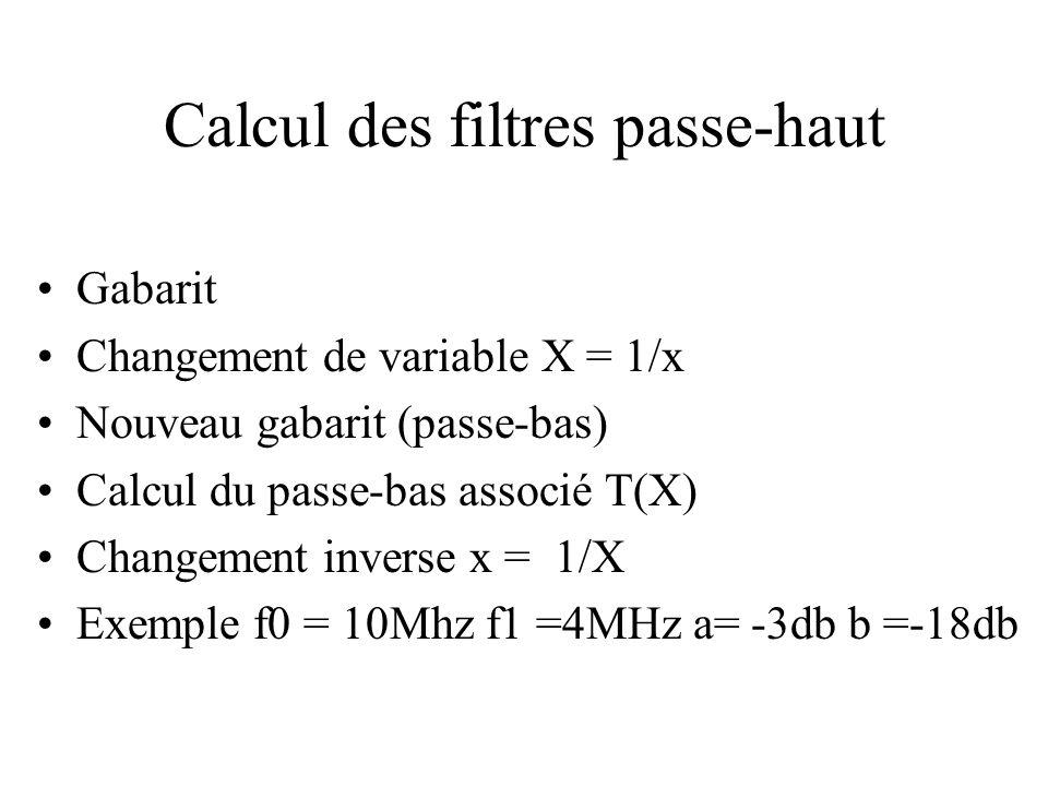 Calcul des filtres passe-haut