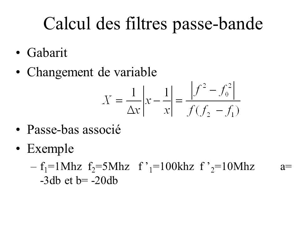 Calcul des filtres passe-bande