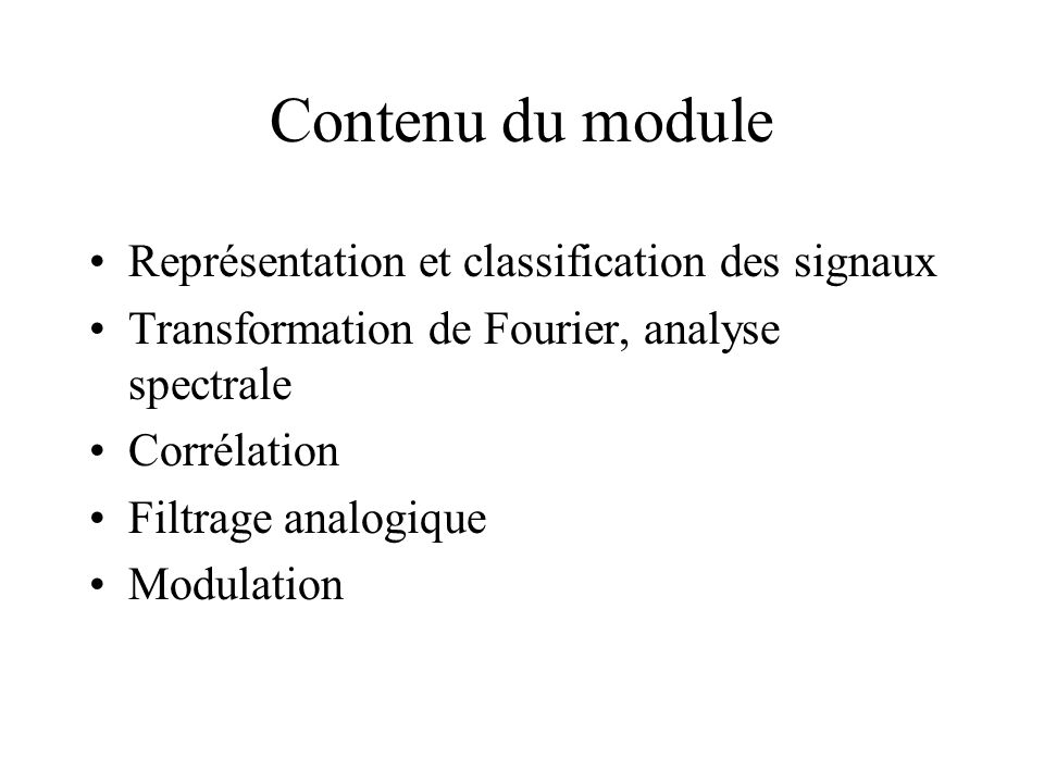 Contenu du module Représentation et classification des signaux