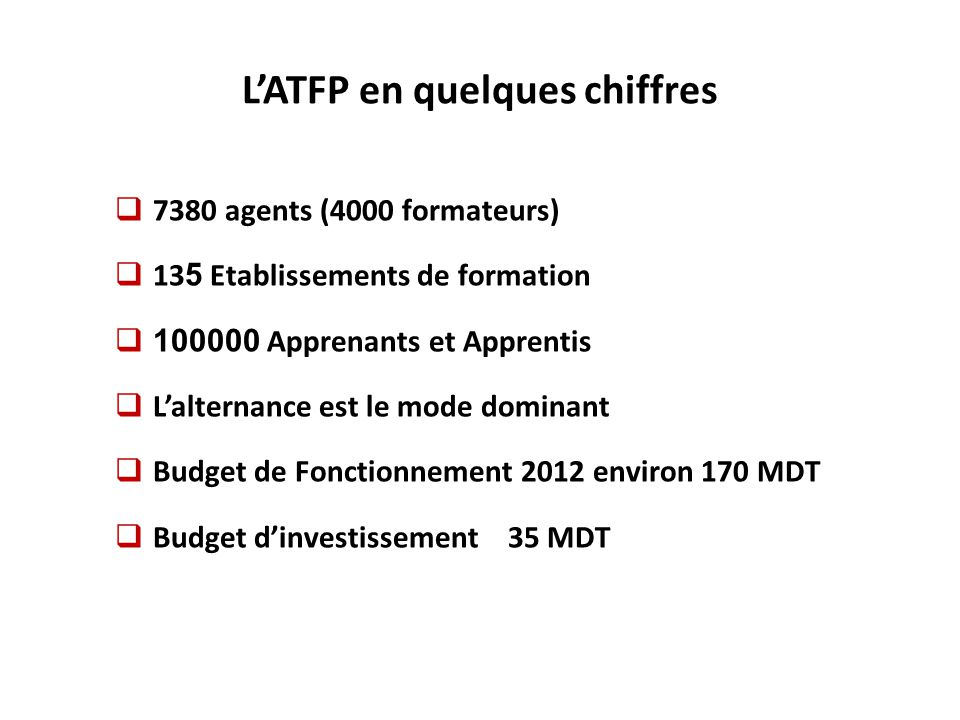 L'ATFP en quelques chiffres
