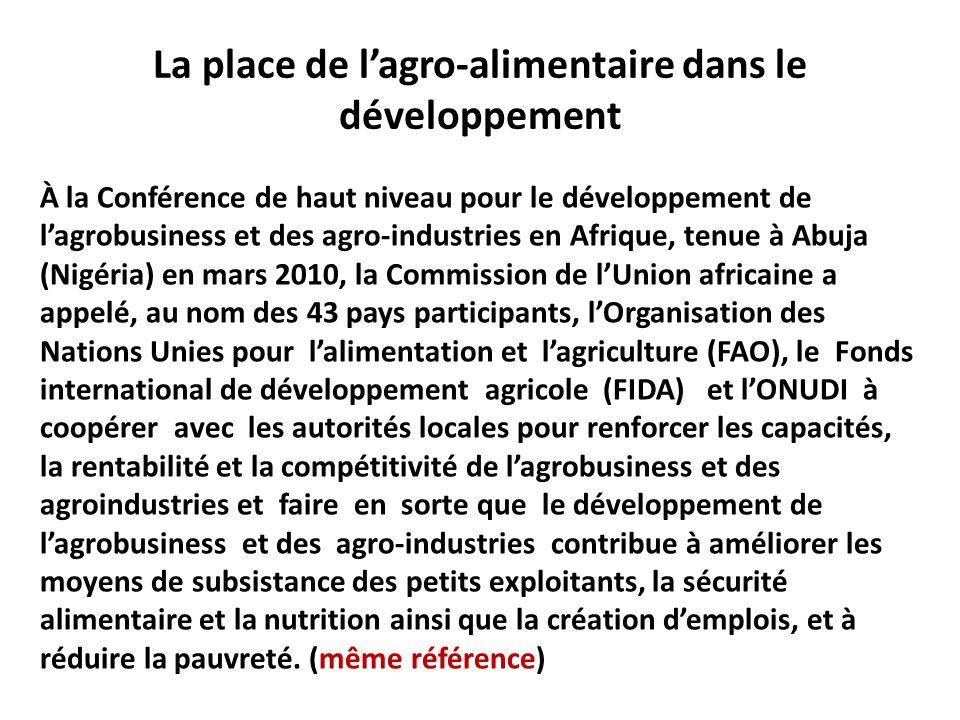 La place de l'agro-alimentaire dans le développement