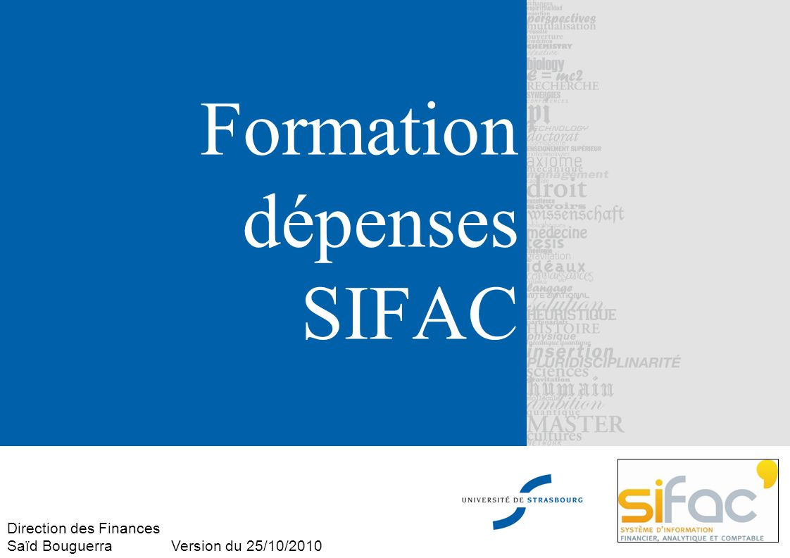 Formation dépenses SIFAC