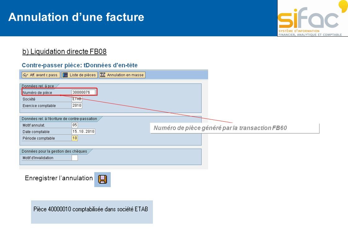 Annulation d'une facture