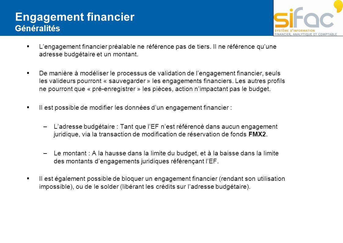 Engagement financier Généralités