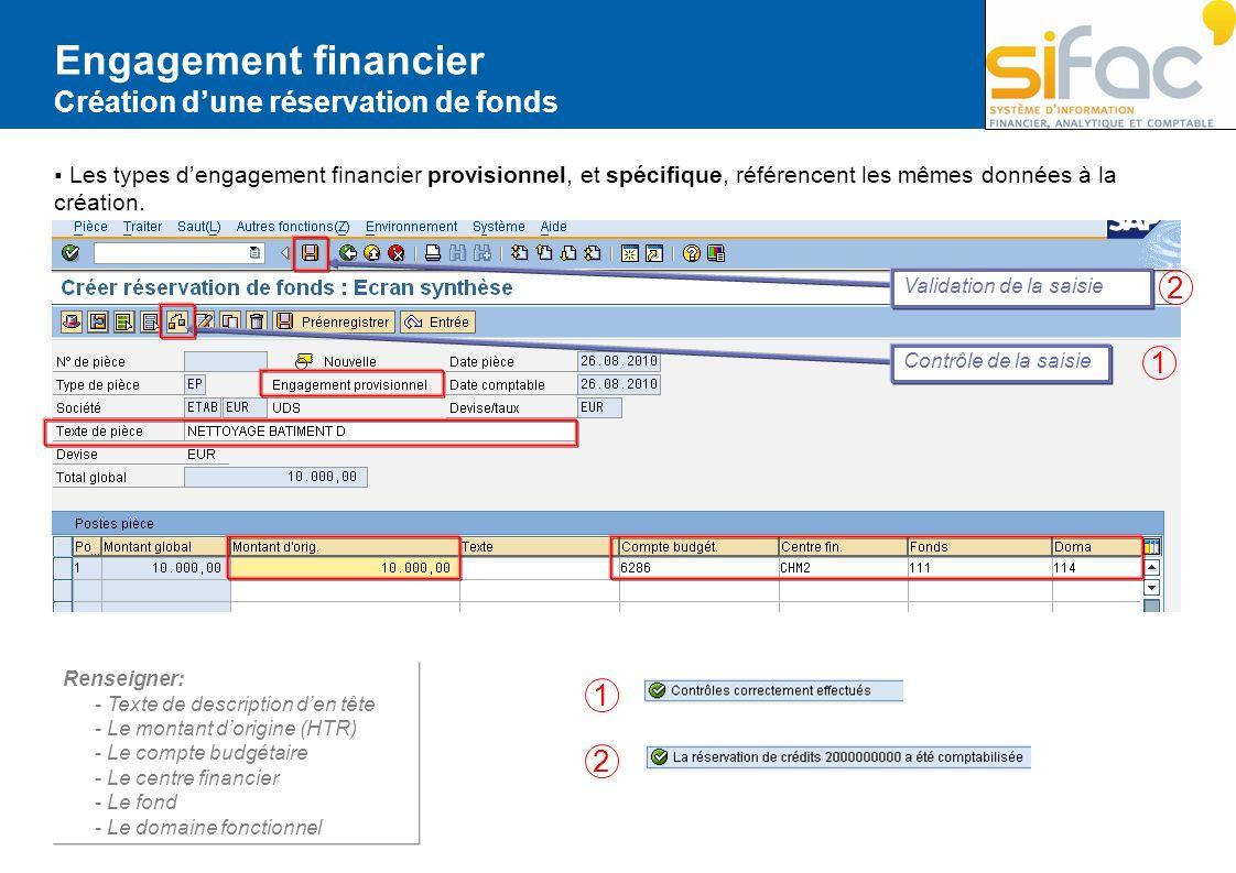 Engagement financier 2 1 1 2 Création d'une réservation de fonds