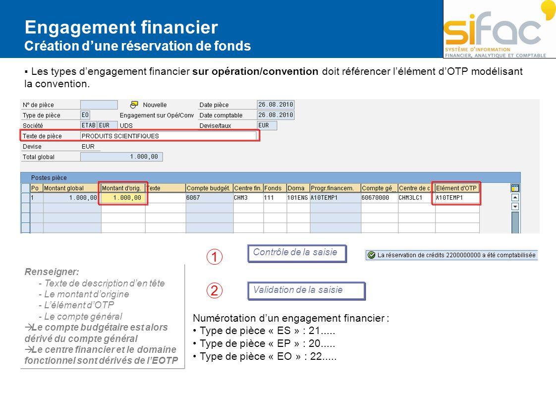 Engagement financier 1 2 Création d'une réservation de fonds