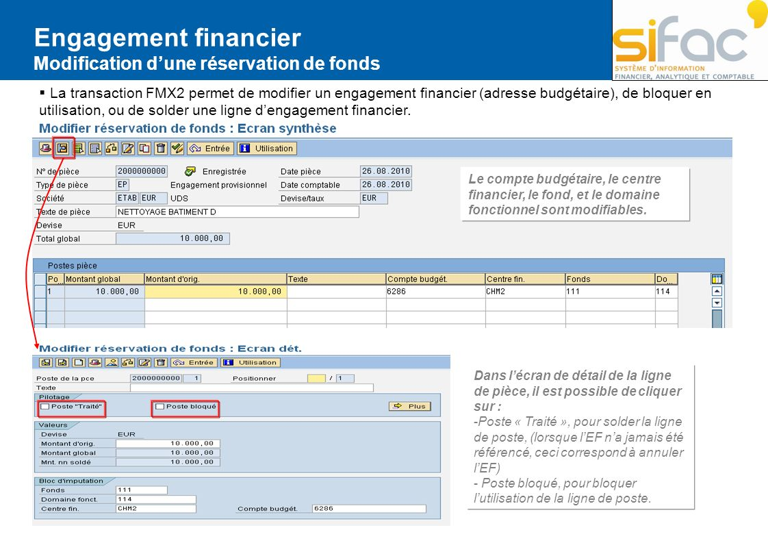 Engagement financier Modification d'une réservation de fonds