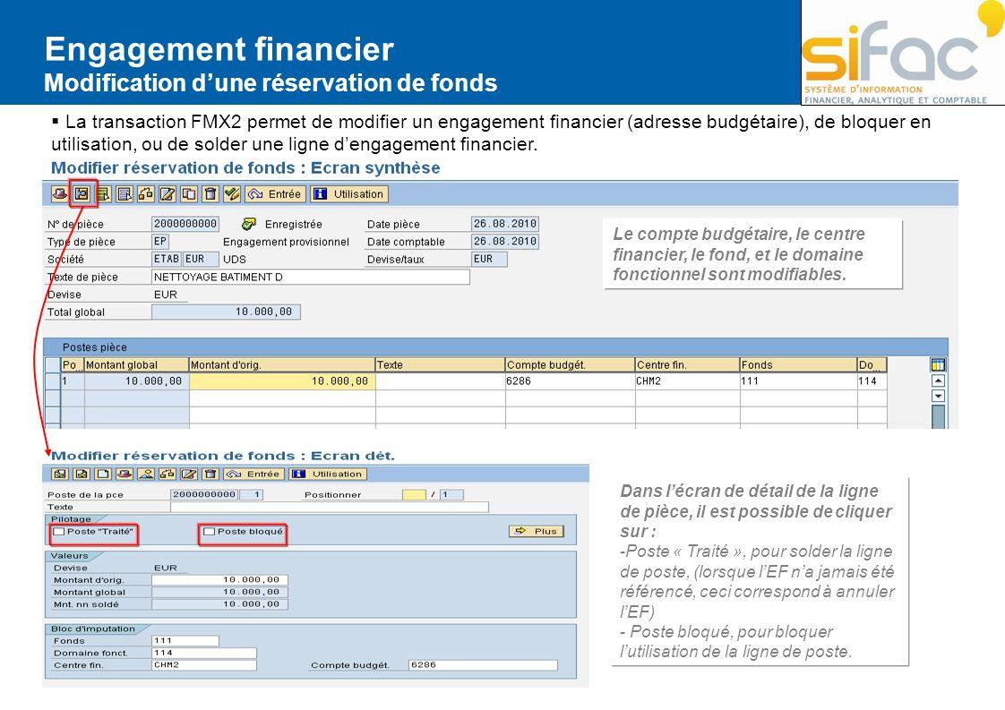 Engagement financier Modification d'une réservation de fonds
