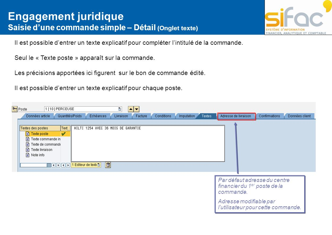 Engagement juridique Saisie d'une commande simple – Détail (Onglet texte)