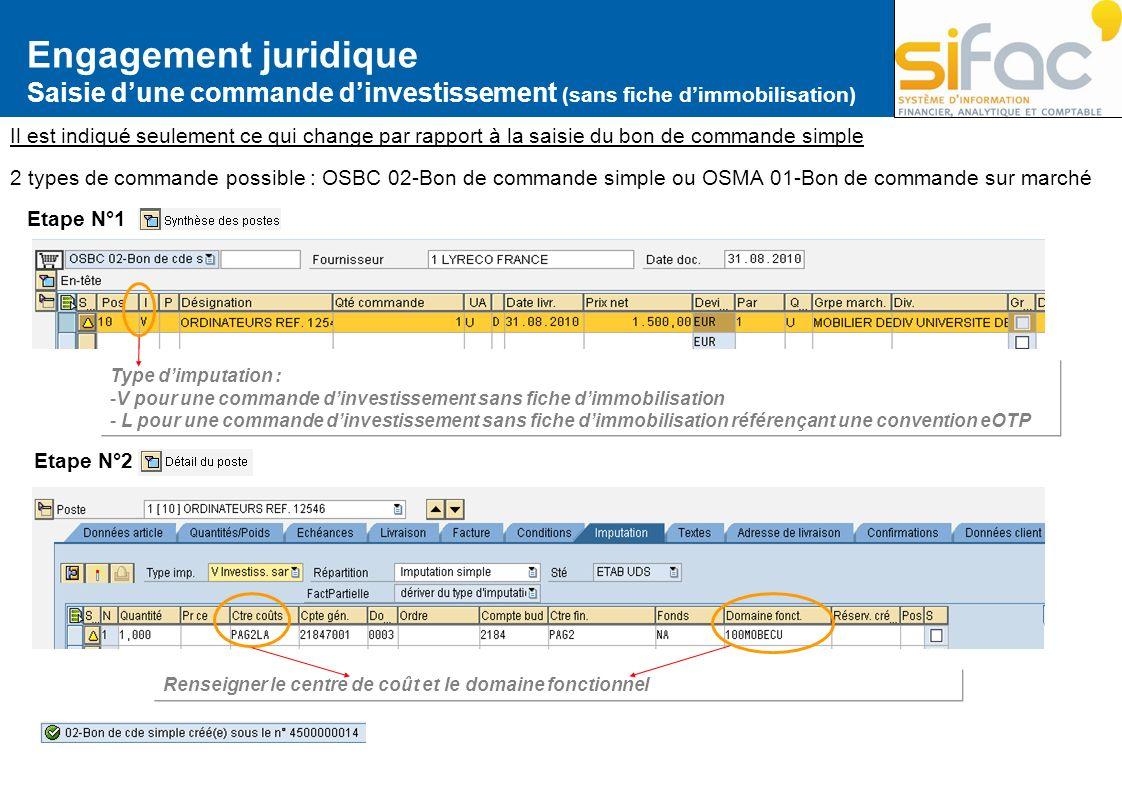 Engagement juridique Saisie d'une commande d'investissement (sans fiche d'immobilisation)