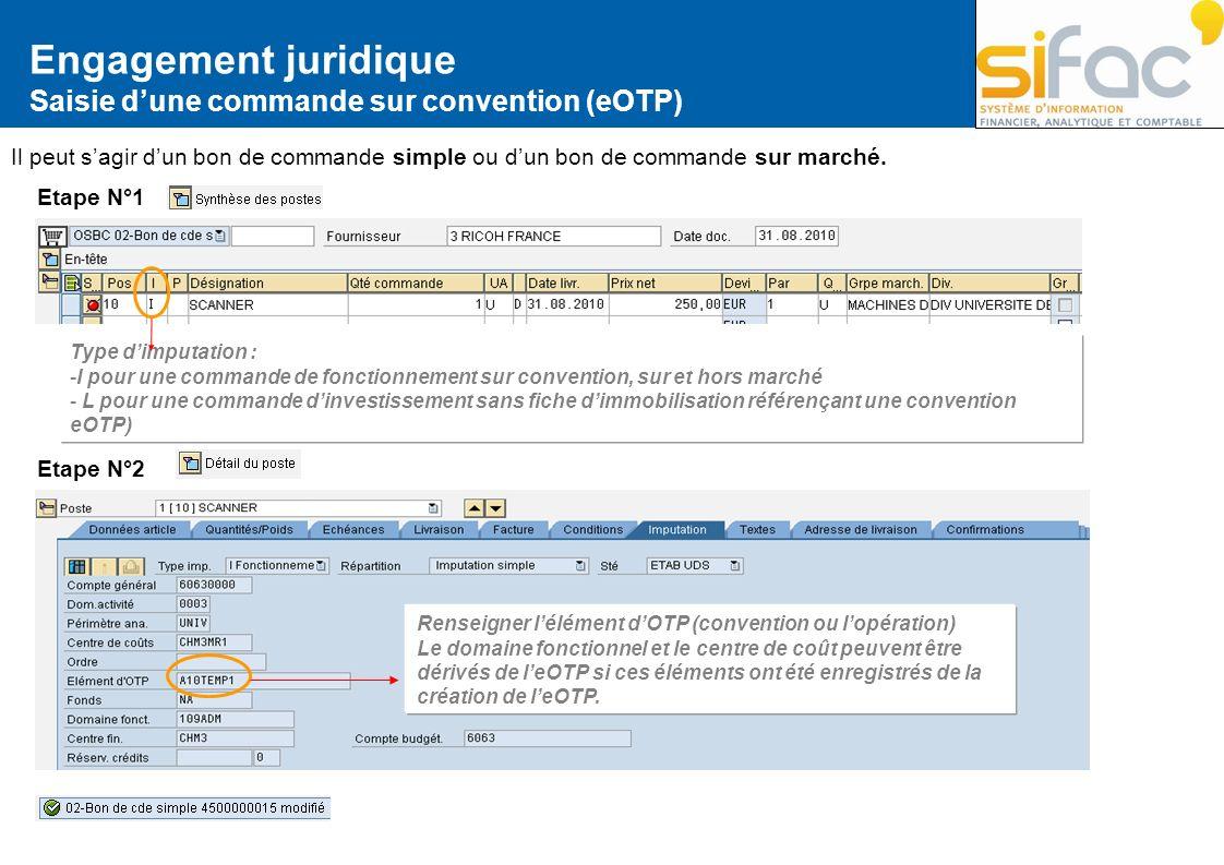 Engagement juridique Saisie d'une commande sur convention (eOTP)