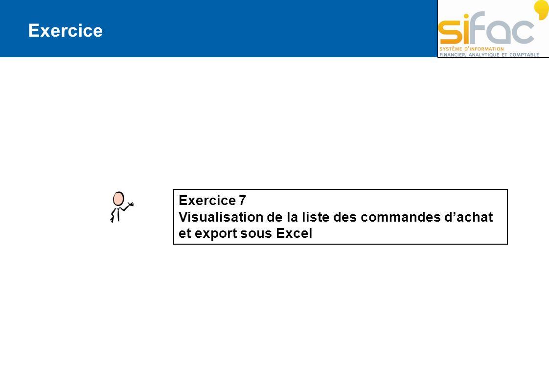 Exercice Exercice 7 Visualisation de la liste des commandes d'achat et export sous Excel