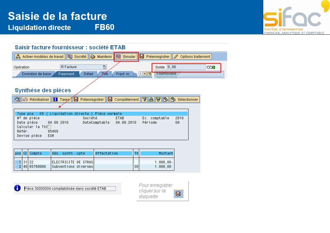 Saisie de la facture Liquidation directe FB60