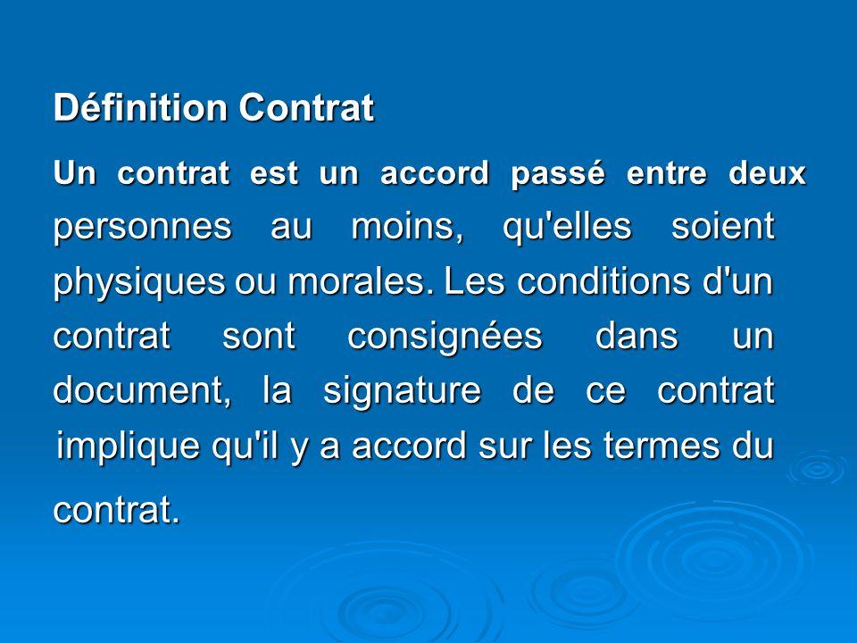 Définition Contrat contrat.