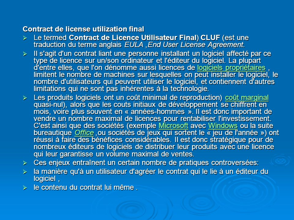 Contract de license utilization final