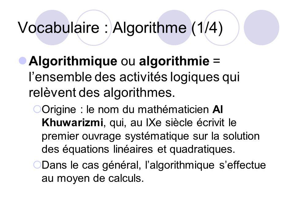 Vocabulaire : Algorithme (1/4)