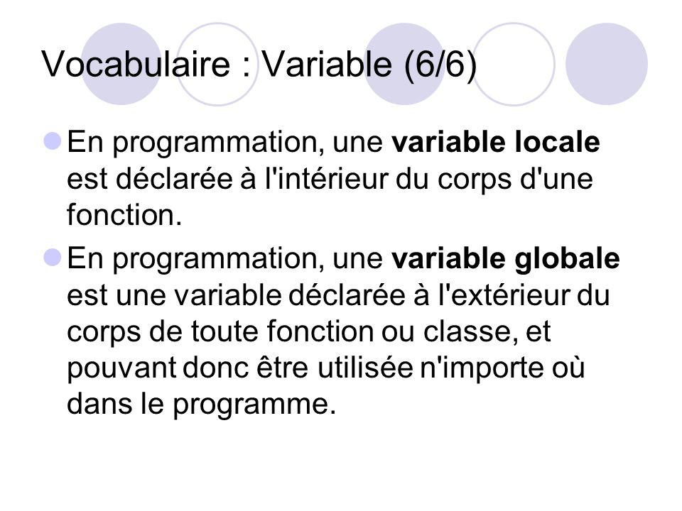 Vocabulaire : Variable (6/6)