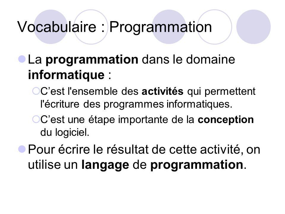 Vocabulaire : Programmation