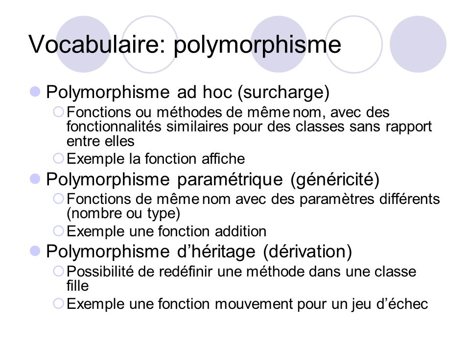 Vocabulaire: polymorphisme