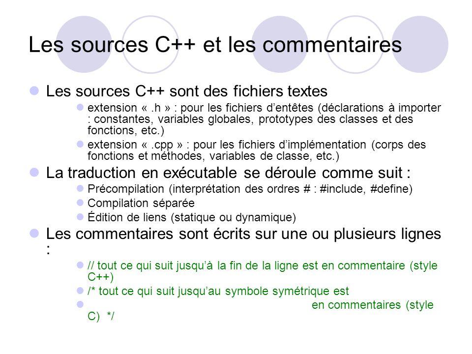 Les sources C++ et les commentaires